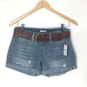 Women's distressed belted shorts size 1